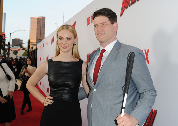 E J Scott And Deborah Ann Woll Attend The Daredevil