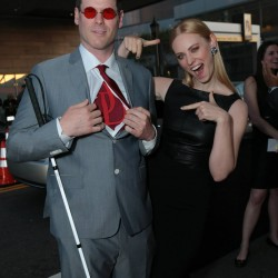 "E.J. Scott and Deborah Ann Woll attend the ""Daredevil"" premiere"