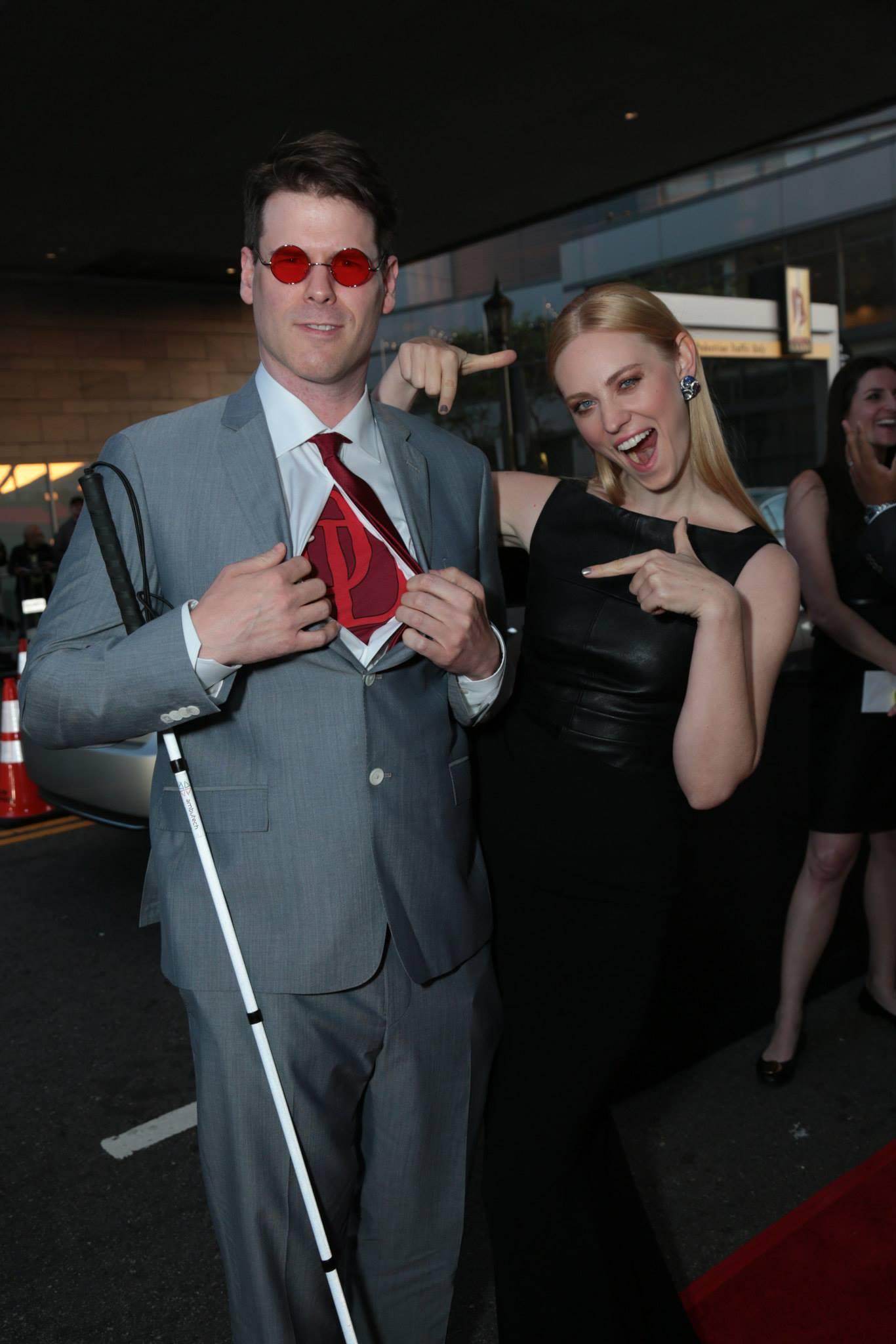 E J Scott And Deborah Ann Woll Attend The Daredevil
