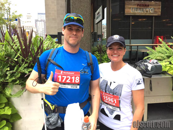 EJ with his guide Natalie at Toronto Marathon